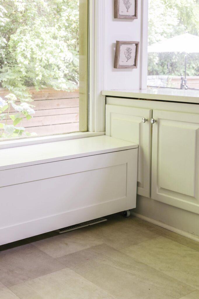 diy window seat storage bench on casters
