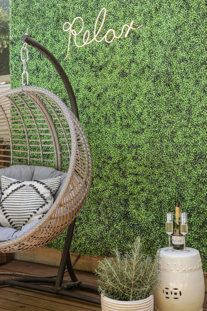 diy faux hedge wall for picture backdrop