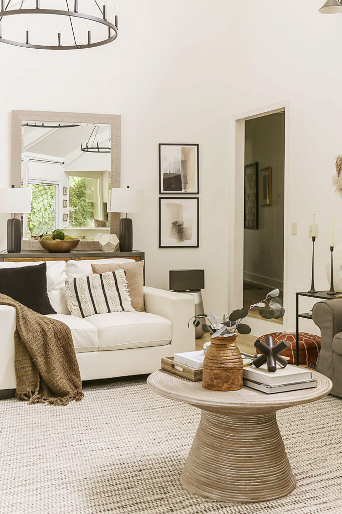 boho farmhouse neutral living room with white walls