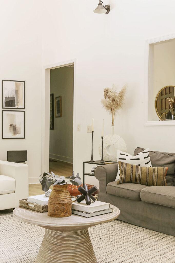 boho chic white neutral living room