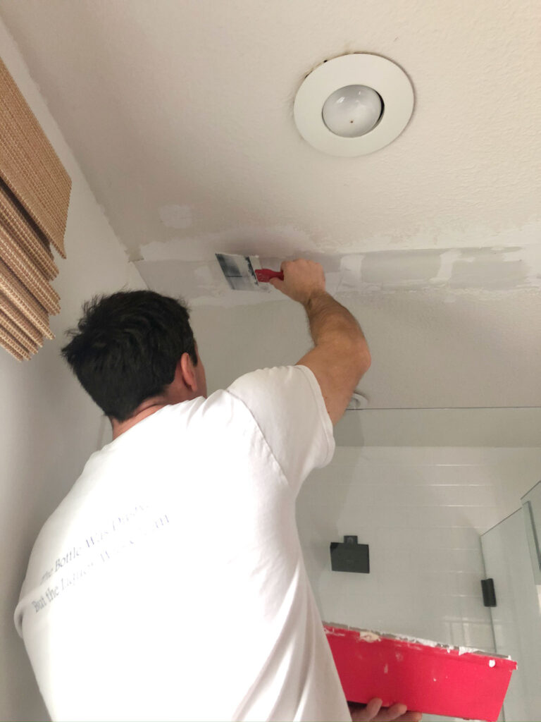 easiest way to patch a textured ceiling without scraping it