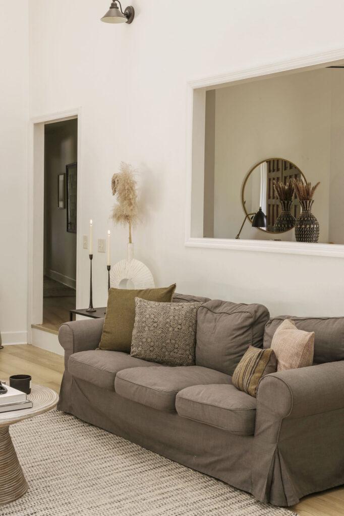 neutral modern fall decor in living room