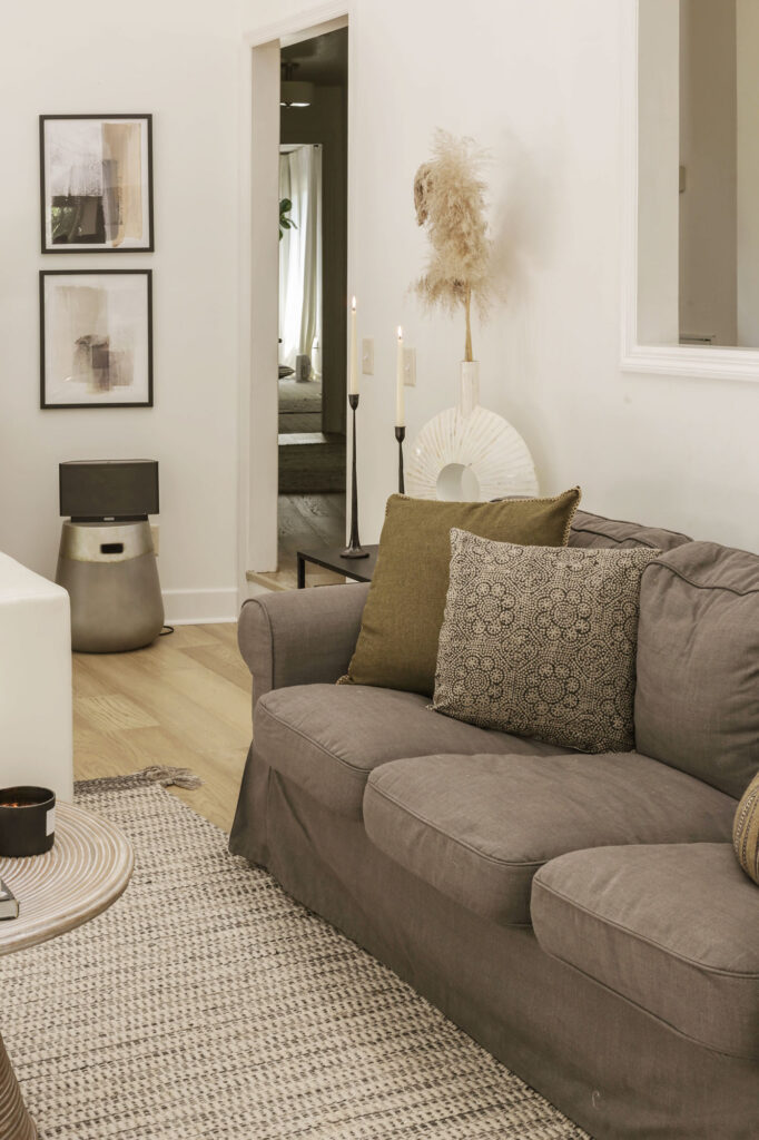 neutral fall decorating in living room